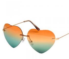 Heart Shape Synthetic Resin Lens Sunglasses With Metal Bridge Detail 052222