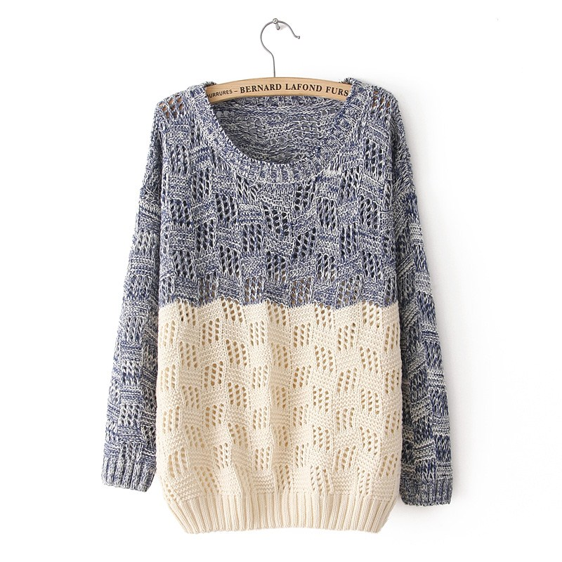 Knitting Sweaters For Girls : Mixed color knit sweater for women on luulla